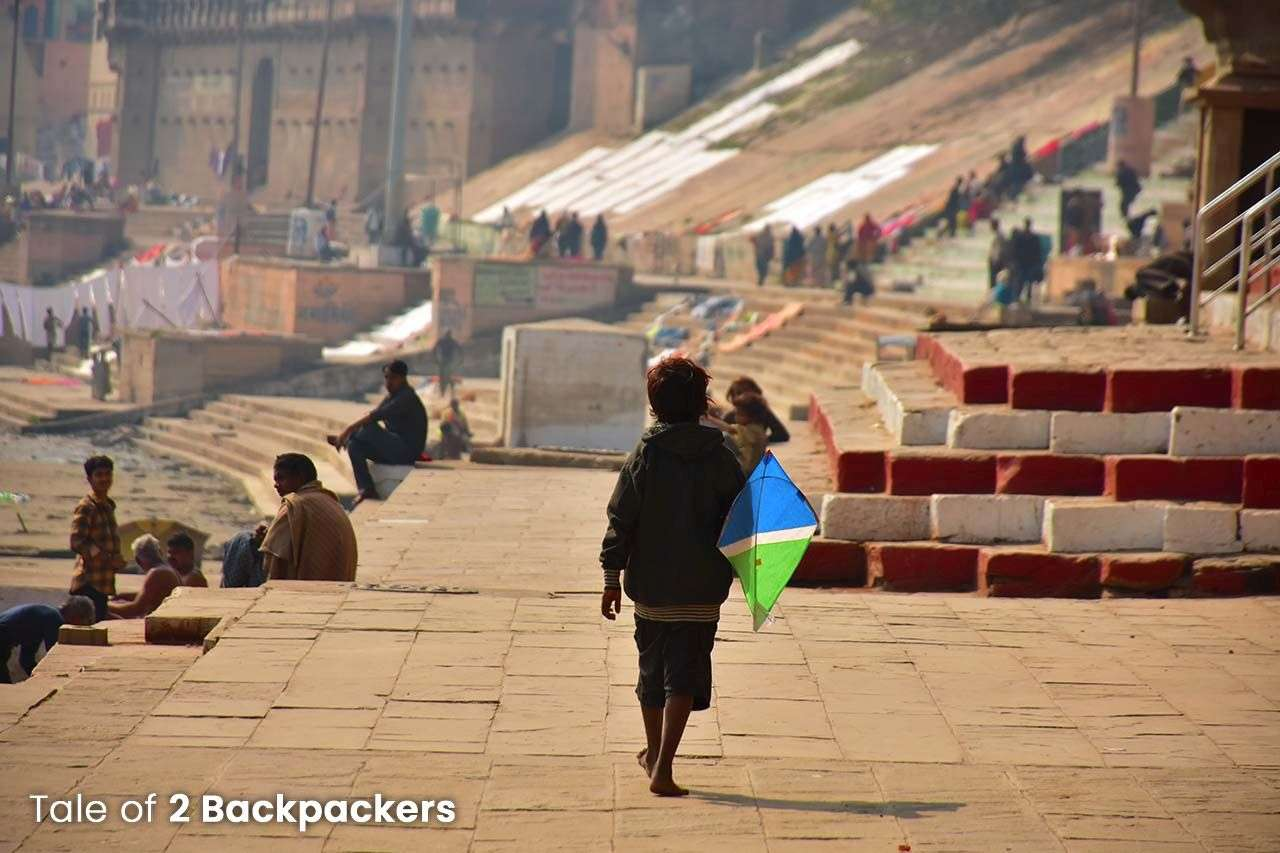 Playing with kite in Ghats in Varanasi