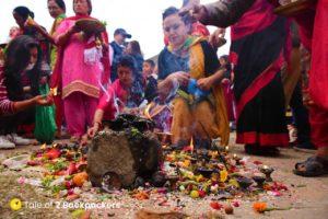 Prayers offered during the Bisket Jatra