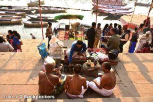 Praying for departed souls in Varanasi Ghat