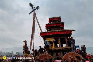 Chariot of Bhairab and the Bisket Pole at Bhaktapur Nepal