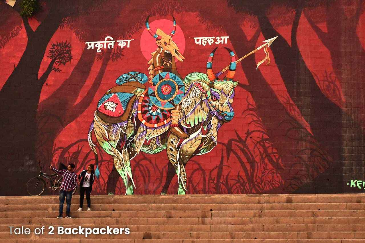 Wall art in Varanasi ghats
