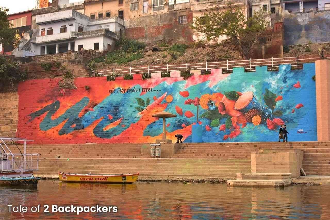 Wall art seen from boat ride in Varanasi