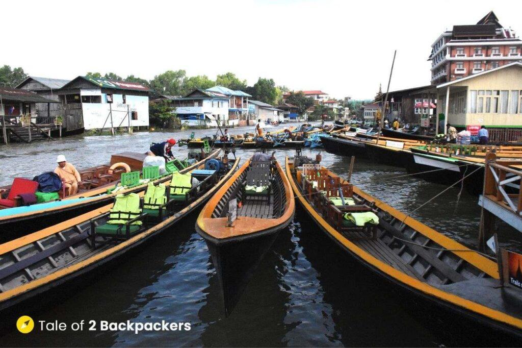 Inle Lake Boat Tour - boats ready at Nyaung Shwe Jetty