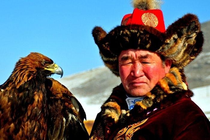 Kazakh with eagle from Kazaksthan