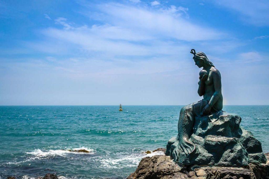 Mermaid statue in Busan coast, South Korea