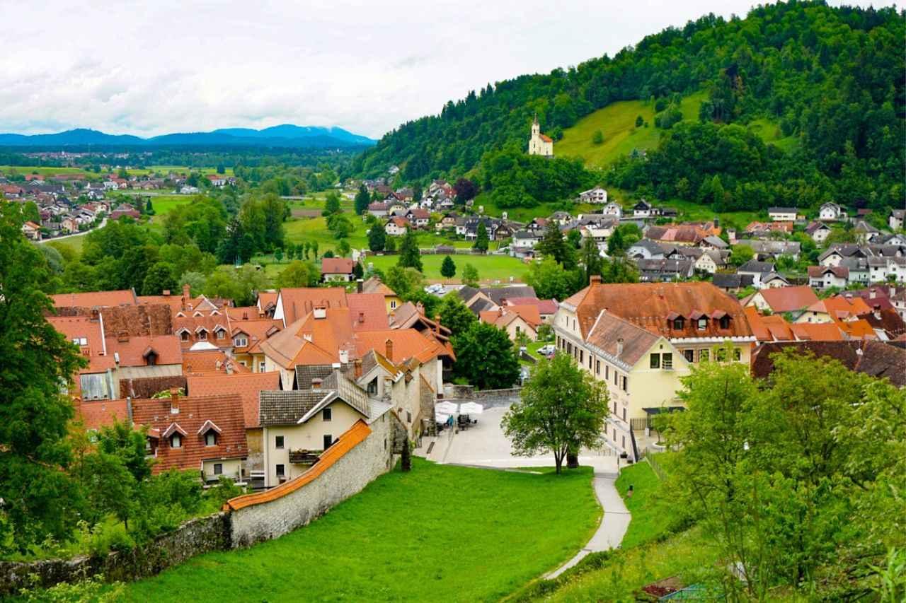 View from Loka Castle in Skofja Loka, Slovenia
