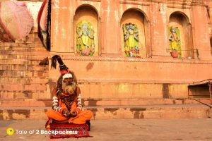 A Sadhu sitting at the Varanasi Ghat