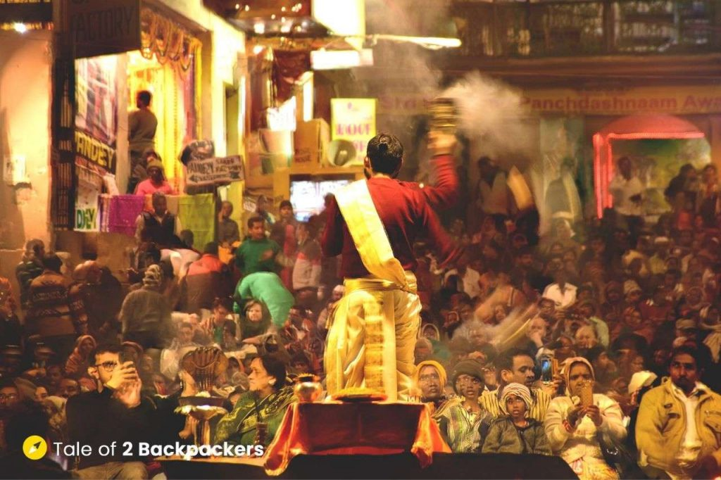 A priest praying during the Varanasi Ganga Aarti