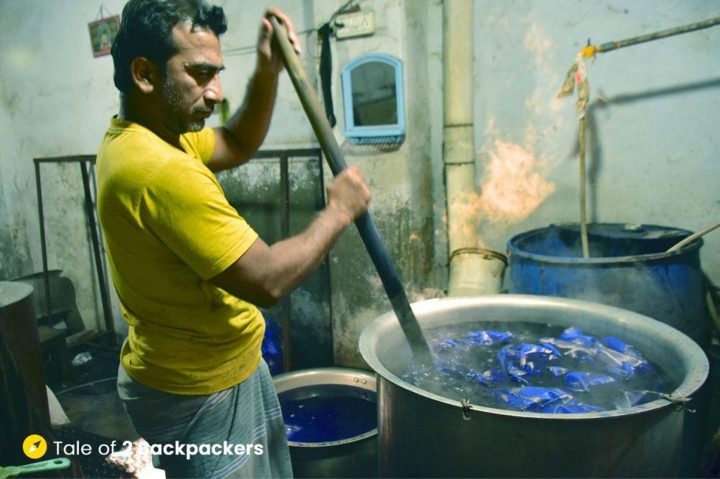 Banarasi saree in making inside a factory at Madanpura, Varanasi