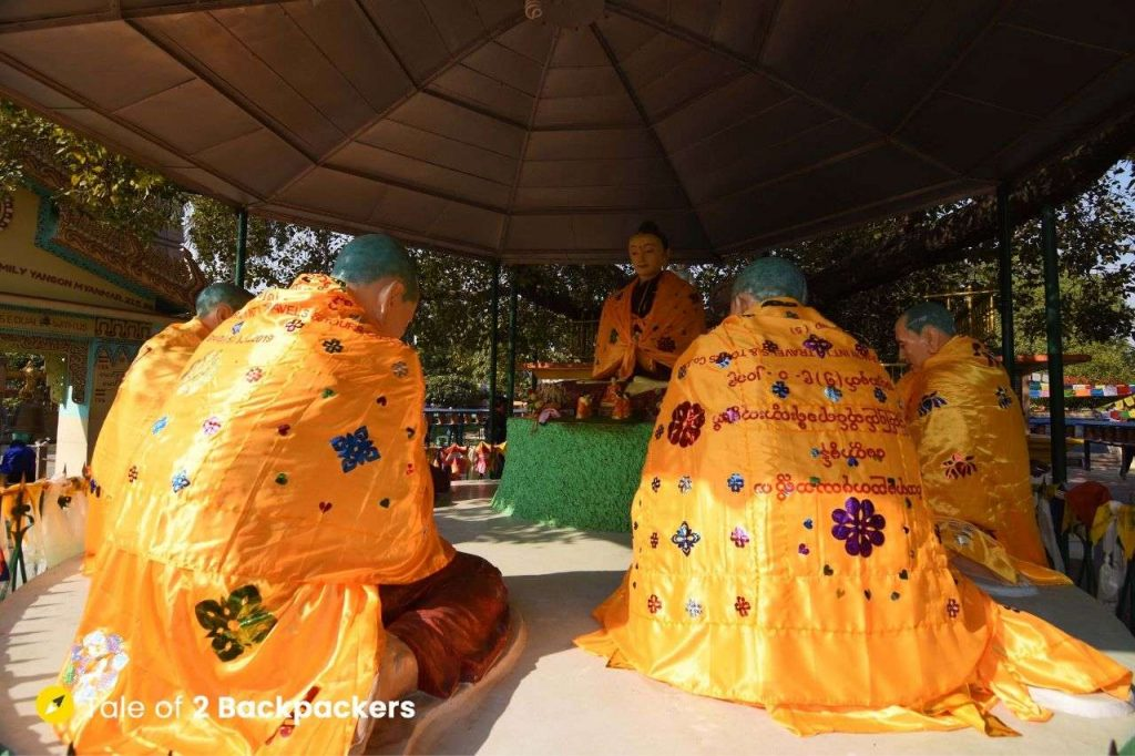 Scene of Buddha giving his first sermon to his first five disciples recreated by a group of Burmese Buddhist devotees at Sarnath