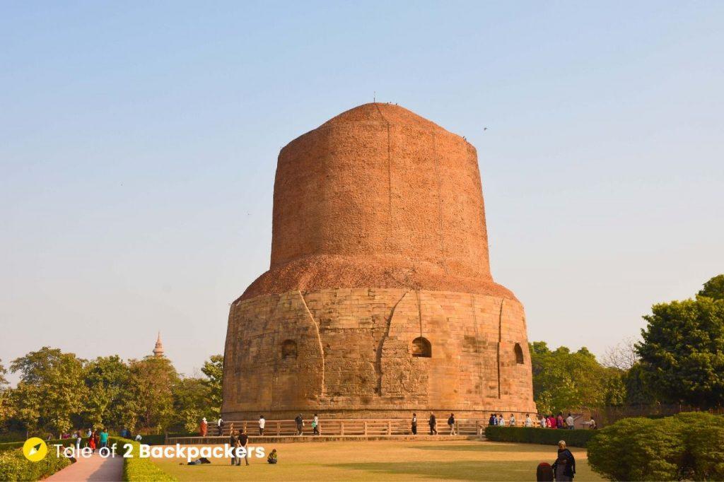 The majestic Dhamekh Stupa at Sarnath Buddhist Complex at Sarnath - Varanasi to Sarnath Day Trip