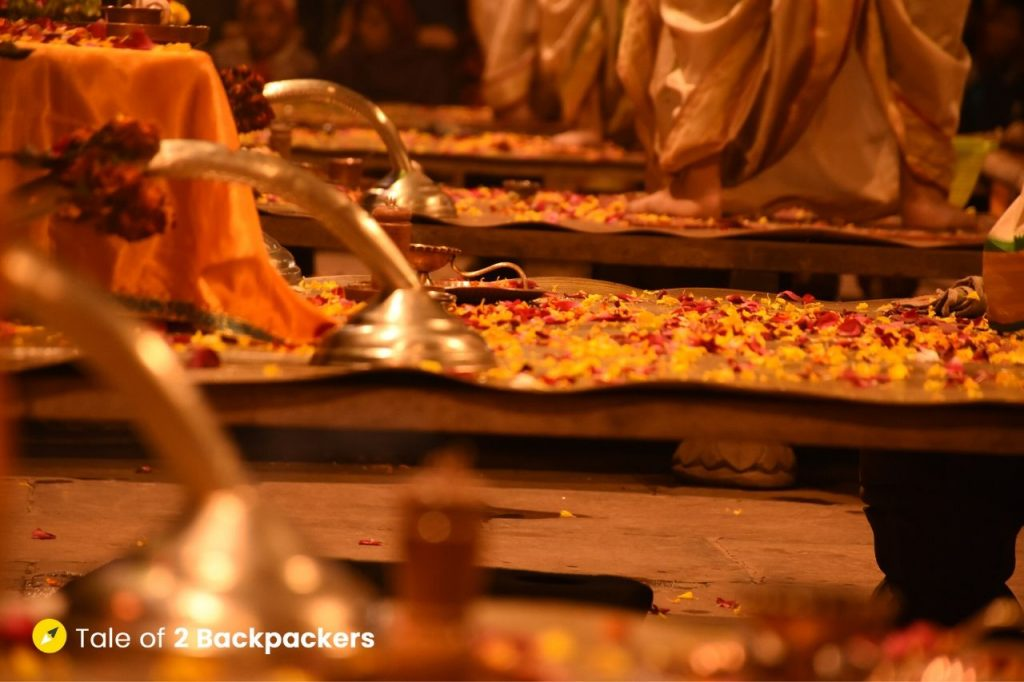 Flowers offered to Ganga Maiyaa during evening Aarti at Dashashwamedh Ghat