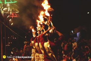 All the priests move in a synchronized way during the Ganga Aarti at Varanasi