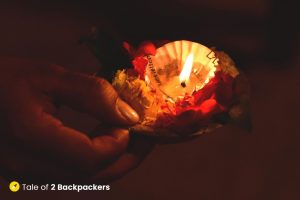 Flowers and Lamp offered to River Ganga
