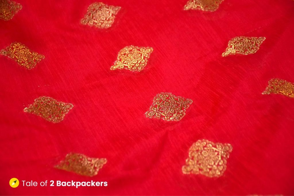 Red coloured sarees are favoured by the Hindus