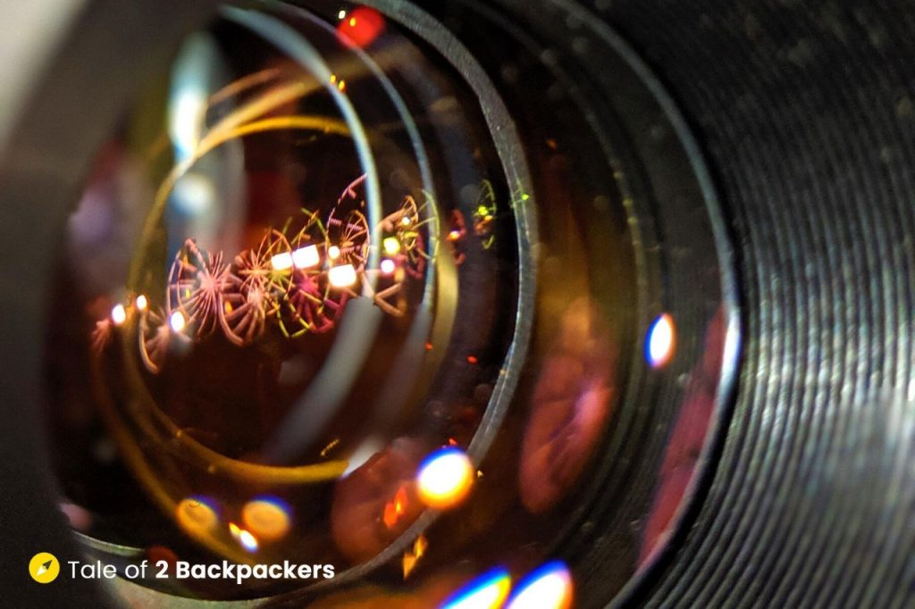 Reflection of the lights on the camera lens