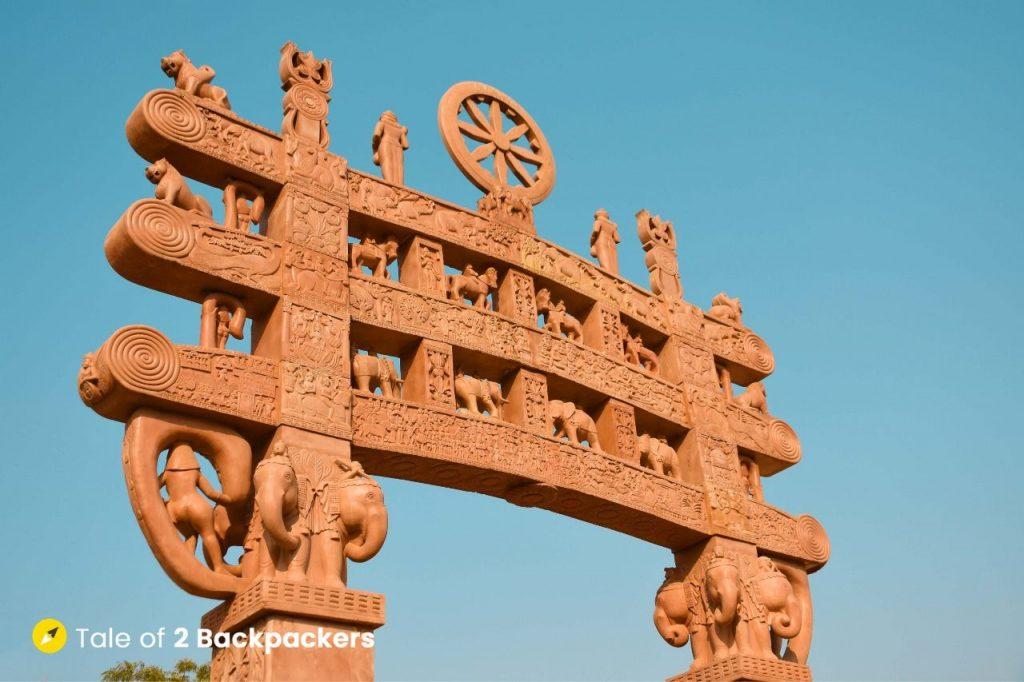 The replica of Gatewway to Sanchi Stupa located at the Vishwa Shanti Stupa at Sarnath