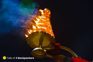 Lighted lamps are used for offering Varanasi Ganga Aarti at Dashashwamedh Ghat and at Subh-e-Banaras at Assi Ghat