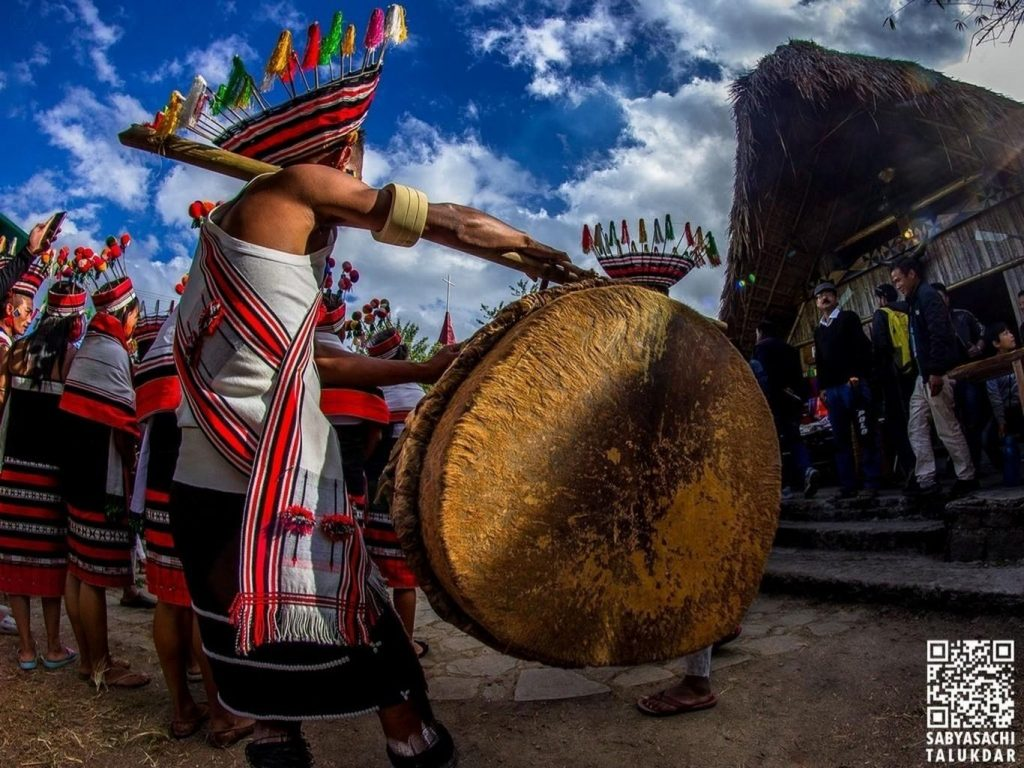 Tribes playing drum at Hornbill Festival