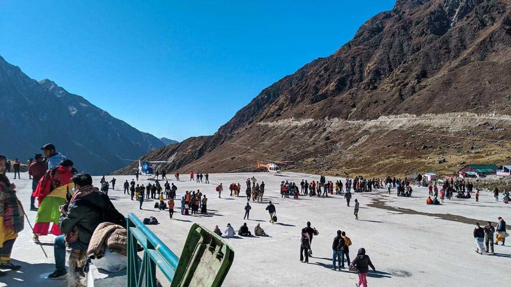 Helicopter ride at Helipad in Kedarnath Base Camp