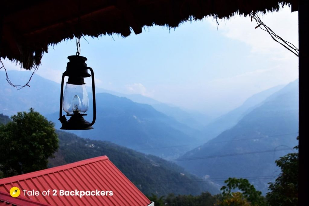 View of the mountains from the Machan at Chalamthang Homestay Sikkim