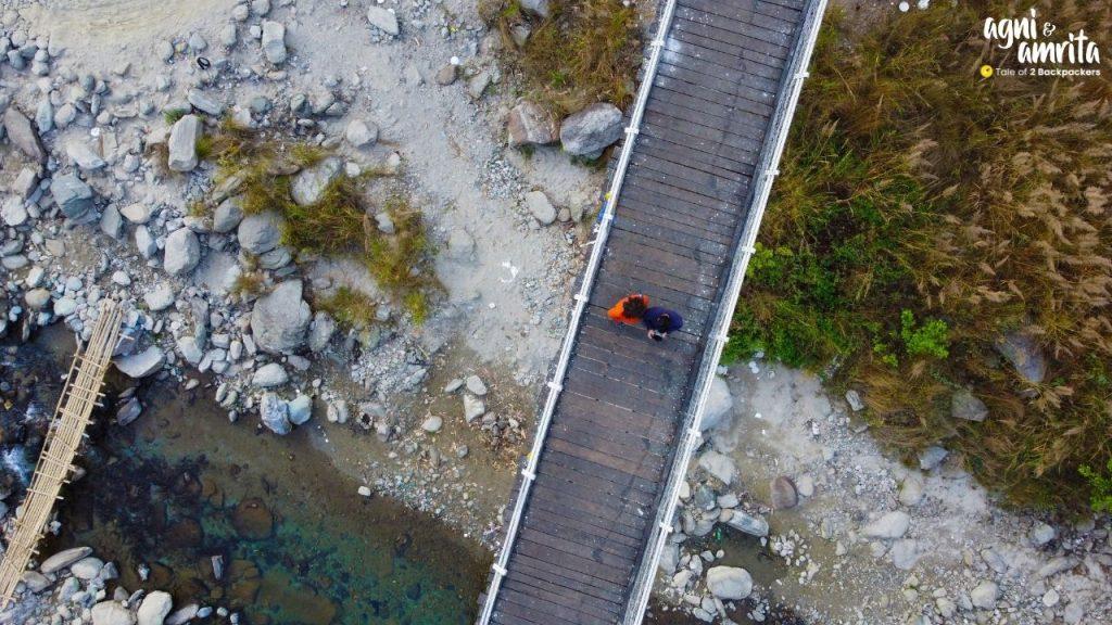 Aerial view of the suspension Bridge at Bidyang
