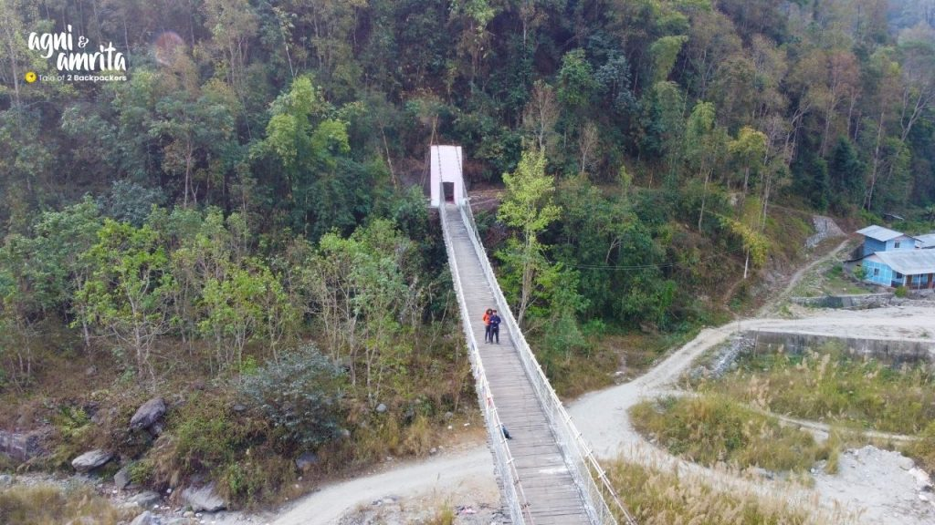 View of the hanging bridge at Bidyang - weekend destination from Kolkata