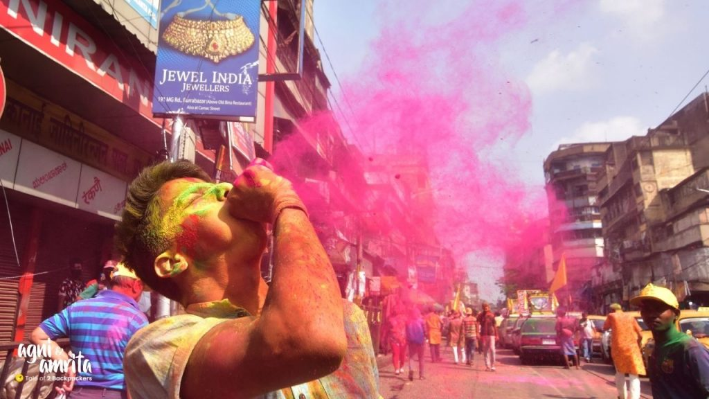 Blowing colours during Holi