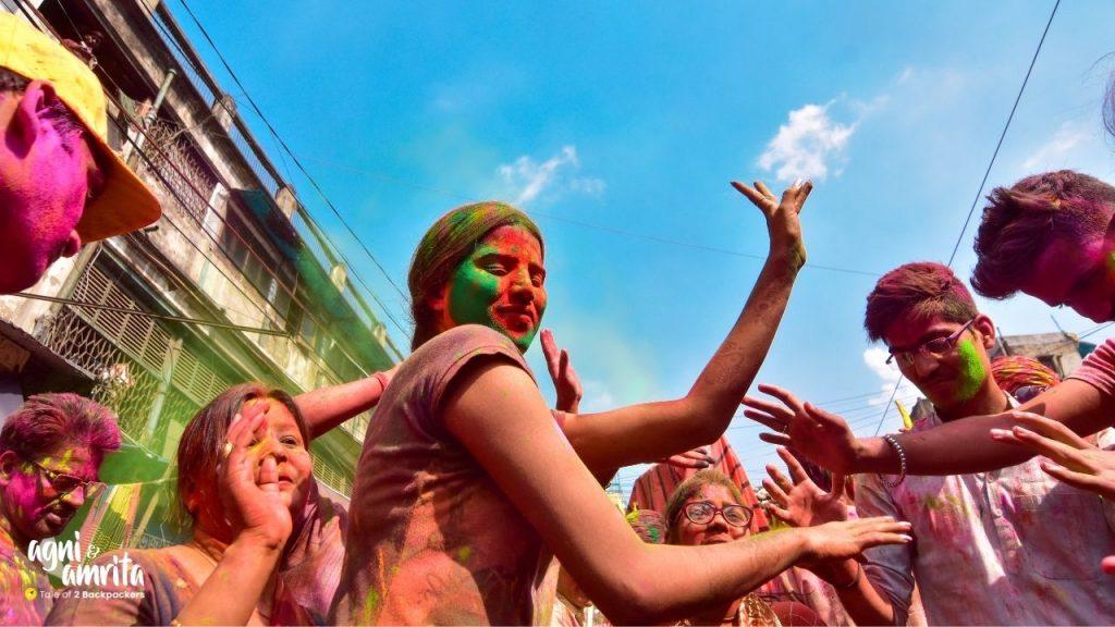 Girls dancing during Holi