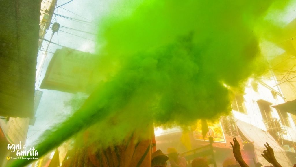 Painting the streets green during Holi