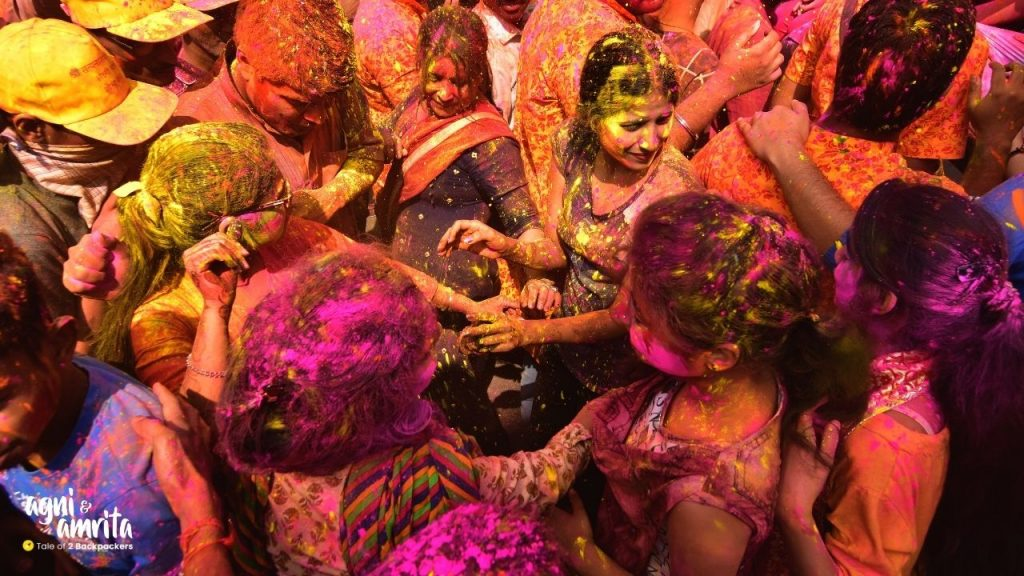 People playing with colours during Holi in India