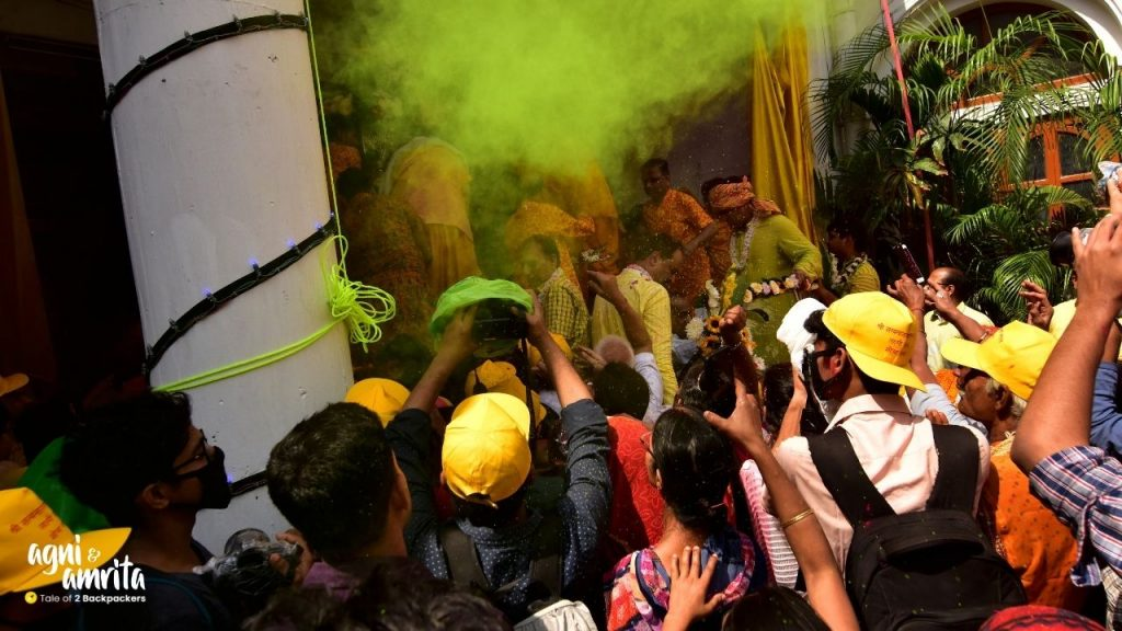 A number of photographers at SatyanarayJee Temple at Kalakar Street to capture the Holi procession
