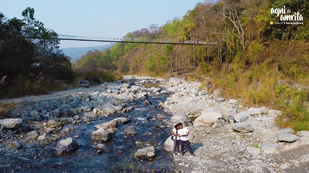 Suspension Bridge over Relli River at Bidyang near Kalimpong