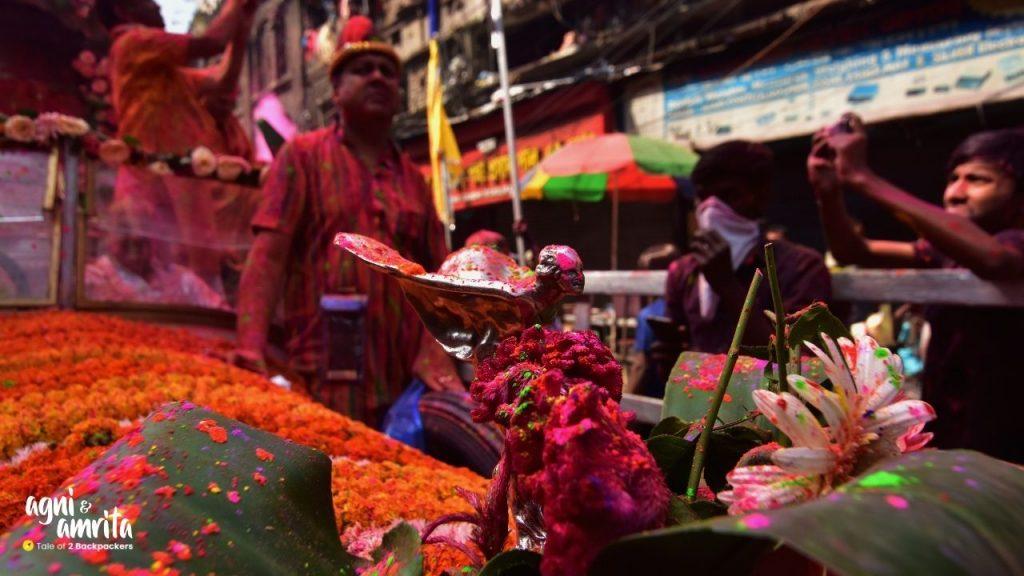 The Holi procession at Burrabazar