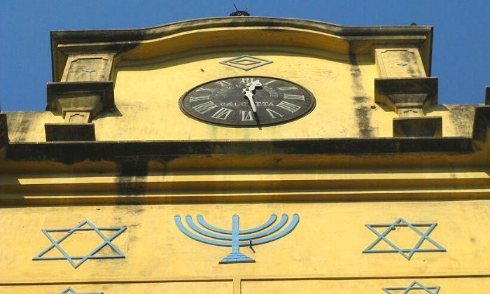 Black coloured clock on top Beth el Synagogue