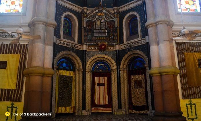 The altar and half dome at Magen David Synagogue Kolkata