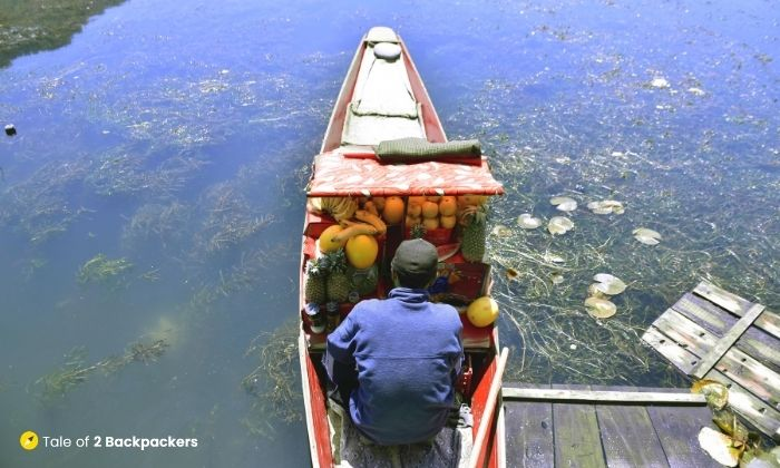 A Shikara selling fruits at Dal Lake