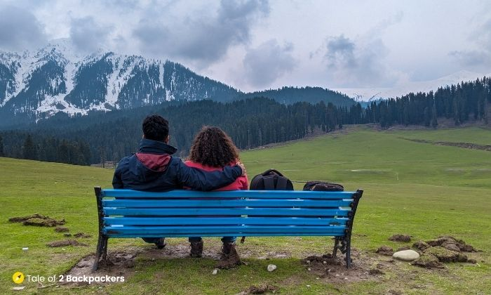 Benches on the meadows of Doodhpatri