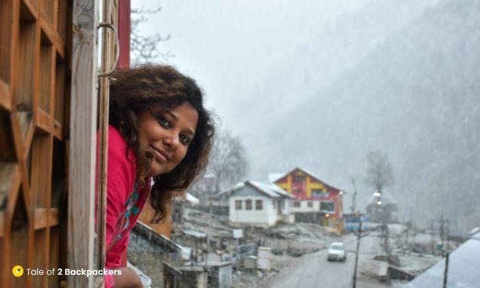 Enjoying Snowfall at Naranag