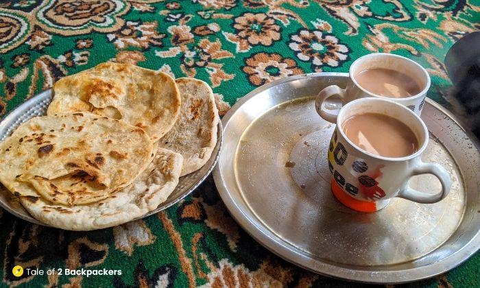 Having Kashmiri Roti and Nun Chai at Homestay