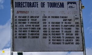Signboard for Pony rate for Yusmarg
