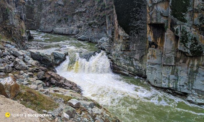 Steps of Aharbal Waterfall