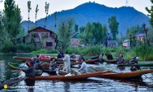 People talking and selling vegetables at Dal Lake Srinagar